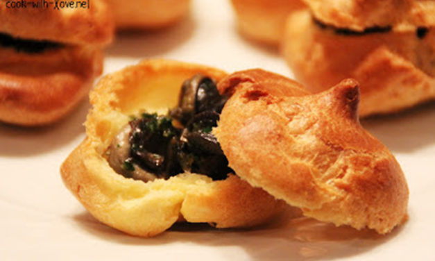 Choux puff filled with persillade snails