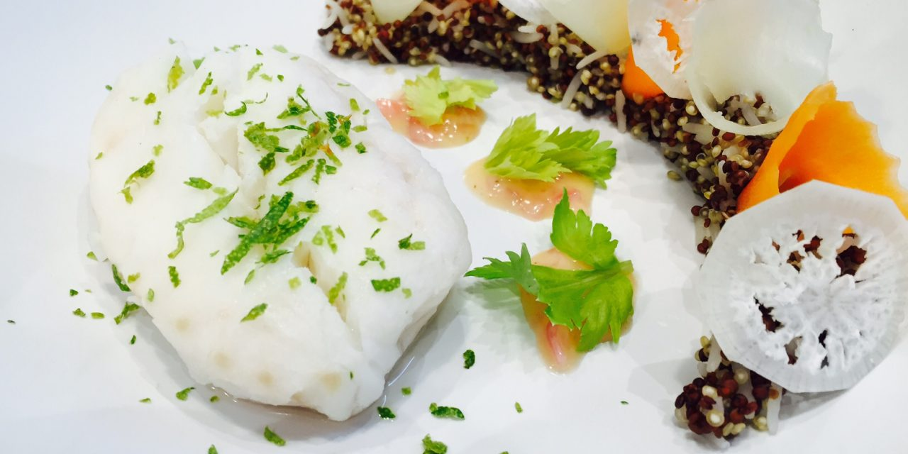 Cod loins with lime beurre blanc, rice and two quinoas