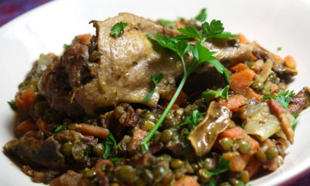 Le Puy green lentils, duck and porcini mushrooms hotpot