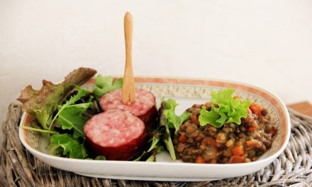 Lentils mish-mash, carrots, turnips and Morteau sausage