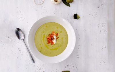 Split peas velouté with coconut milk and smoked trout