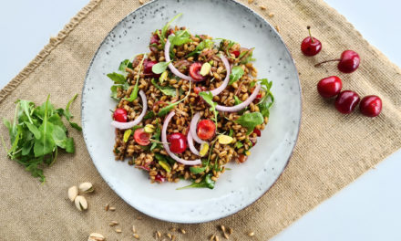 Farro salad with cherries and pistachio